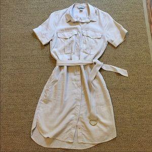 H&M Dresses - H&M Linen Beige Safari Dress with Pockets - size 6